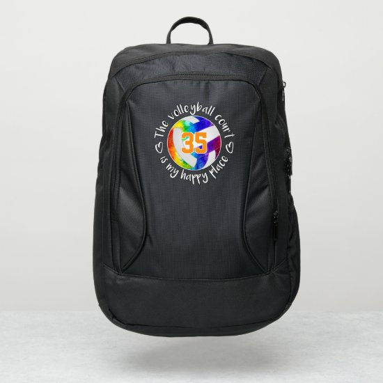 girly rainbow volleyball court is my happy place port authority® backpack
