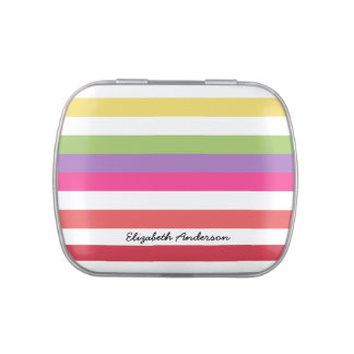 Girly Rainbow Wide Horizontal Stripes With Name Jelly Belly Candy Tin