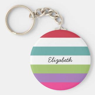 Girly Rainbow Wide Horizontal Stripes With Name Keychain
