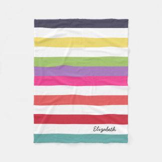 Girly Rainbow Wide Horizontal Stripes With Name Fleece Blanket