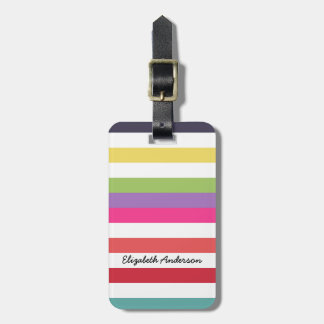 Girly Rainbow Wide Horizontal Stripes With Name Travel Bag Tags
