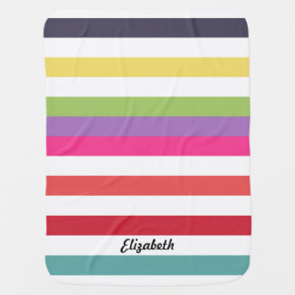 Girly Rainbow Wide Horizontal Stripes With Name Baby Blankets