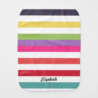 Girly Rainbow Wide Horizontal Stripes With Name Burp Cloth