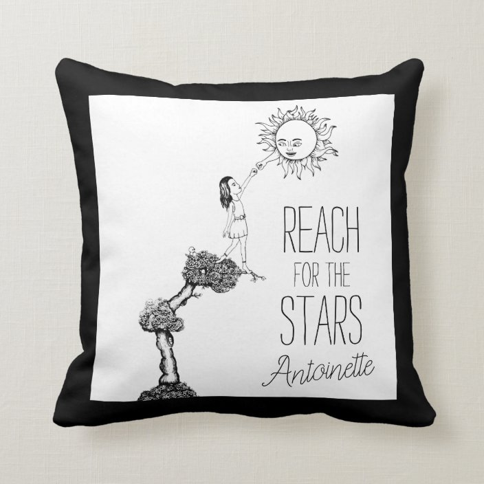 Girly Reach For The Stars Quote Girl S Room Throw Pillow Zazzle Com