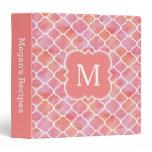 Girly Recipe Coral Pink Monogram Cooking 3 Ring Binder