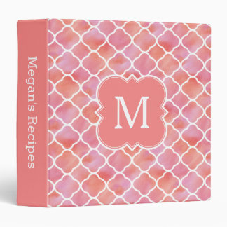 Girly Recipe Coral Pink Monogram Cooking 3 Ring Binder