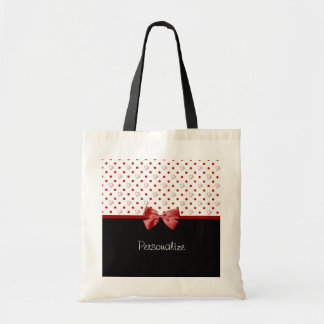 Girly Red and Black Polka Dot Hearts Bow With Name Budget Tote Bag