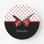 Girly Red and Black Polka Dot Hearts Bow With Name Round Clocks