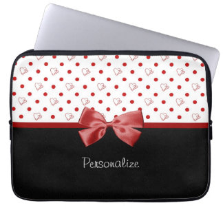 Girly Red and Black Polka Dot Hearts Bow With Name Computer Sleeve