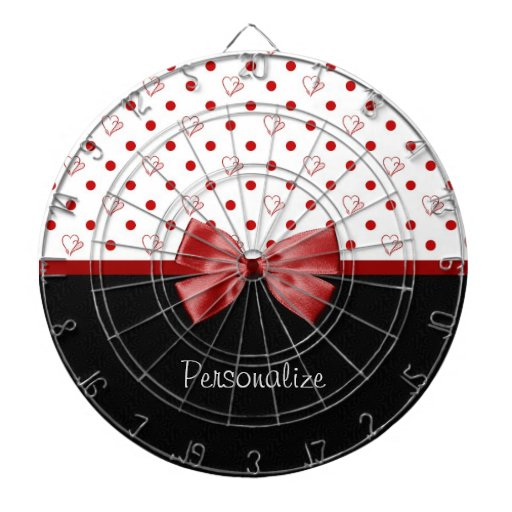 Girly Red and Black Polka Dot Hearts Bow With Name Dart Boards