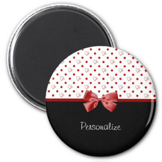 Girly Red and Black Polka Dot Hearts Bow With Name 2 Inch Round Magnet