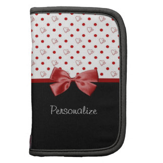 Girly Red and Black Polka Dot Hearts Bow With Name Folio Planner