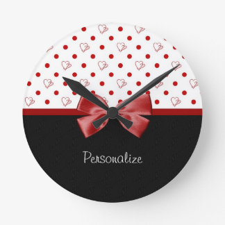 Girly Red and Black Polka Dot Hearts Bow With Name Round Clock