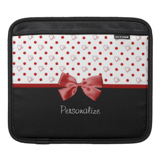 Girly Red and Black Polka Dot Hearts Bow With Name Sleeve For iPads
