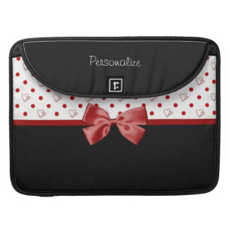 Girly Red and Black Polka Dot Hearts Bow With Name Sleeve For MacBooks