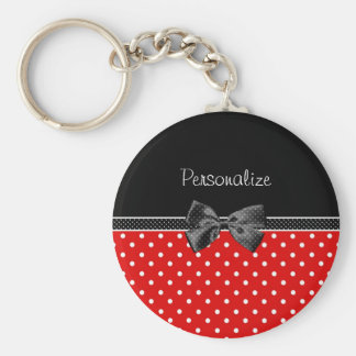 Girly Red and Black Polka Dots With Bow and Name Keychain