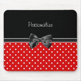 Girly Red and Black Polka Dots With Bow and Name Mouse Pad