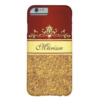 Girly Red and Gold Glitter iPhone 6 Case