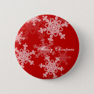 Girly red and white Christmas snowflakes Button