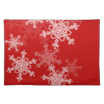 Girly red and white Christmas snowflakes Cloth Placemat