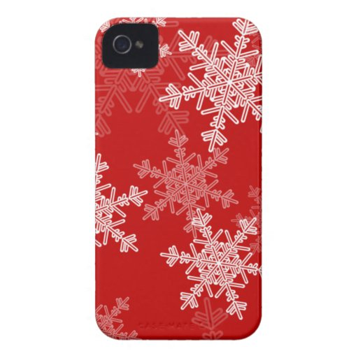Girly red and white Christmas snowflakes iPhone 4 Cases