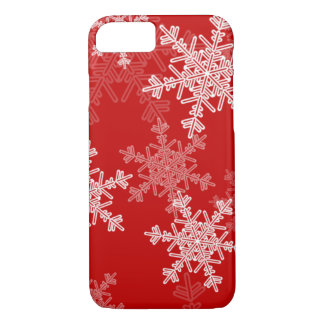Girly red and white Christmas snowflakes iPhone 7 Case