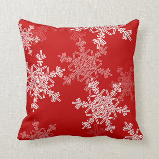 Girly red and white Christmas snowflakes Throw Pillow