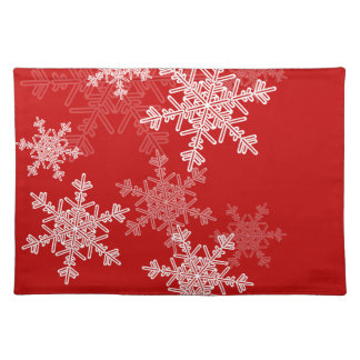 Girly red and white Christmas snowflakes Place Mat