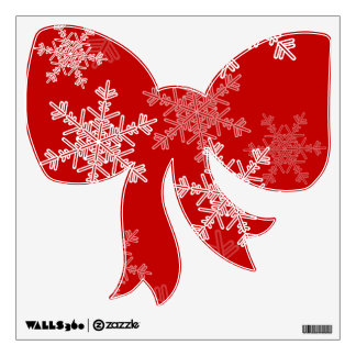 Girly red and white Christmas snowflakes Wall Sticker