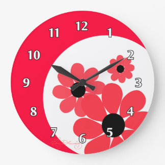 Girly Red Daisies Large Clock