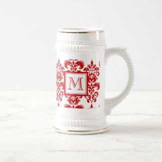 GIRLY RED DAMASK PATTERN 2 YOUR INITIAL BEER STEIN