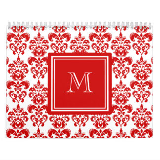 GIRLY RED DAMASK PATTERN 2 YOUR INITIAL CALENDAR