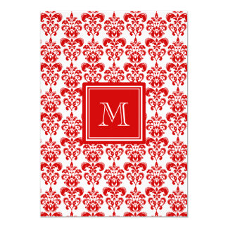 GIRLY RED DAMASK PATTERN 2 YOUR INITIAL CARD
