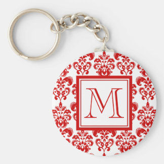 GIRLY RED DAMASK PATTERN 2 YOUR INITIAL KEYCHAIN