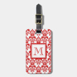 GIRLY RED DAMASK PATTERN 2 YOUR INITIAL TRAVEL BAG TAGS