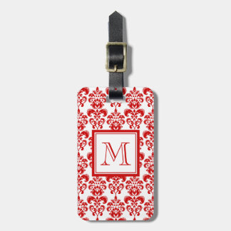 GIRLY RED DAMASK PATTERN 2 YOUR INITIAL LUGGAGE TAG