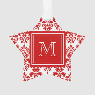 GIRLY RED DAMASK PATTERN 2 YOUR INITIAL ORNAMENT