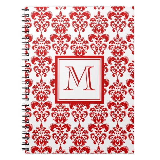 GIRLY RED DAMASK PATTERN 2 YOUR INITIAL SPIRAL NOTE BOOK