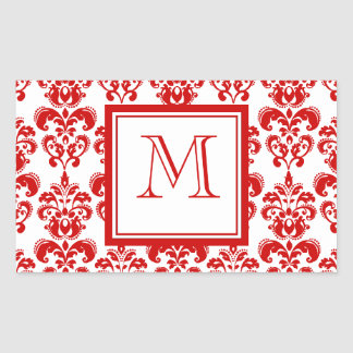 GIRLY RED DAMASK PATTERN 2 YOUR INITIAL STICKER