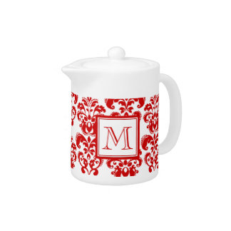 GIRLY RED DAMASK PATTERN 2 YOUR INITIAL TEAPOT