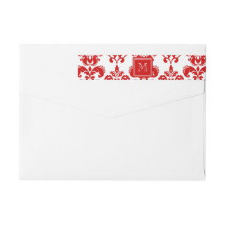 GIRLY RED DAMASK PATTERN 2 YOUR INITIAL WRAP AROUND LABEL
