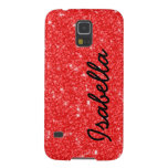 GIRLY RED GLITTER PRINTED PERSONALIZED GALAXY S5 CASES