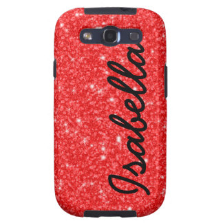 GIRLY RED GLITTER PRINTED PERSONALIZED SAMSUNG GALAXY SIII COVERS