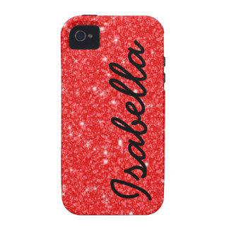 GIRLY RED GLITTER PRINTED PERSONALIZED iPhone 4/4S CASES