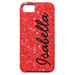 GIRLY RED GLITTER PRINTED PERSONALIZED iPhone 5 COVERS