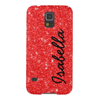 GIRLY RED GLITTER PRINTED PERSONALIZED GALAXY S5 COVER