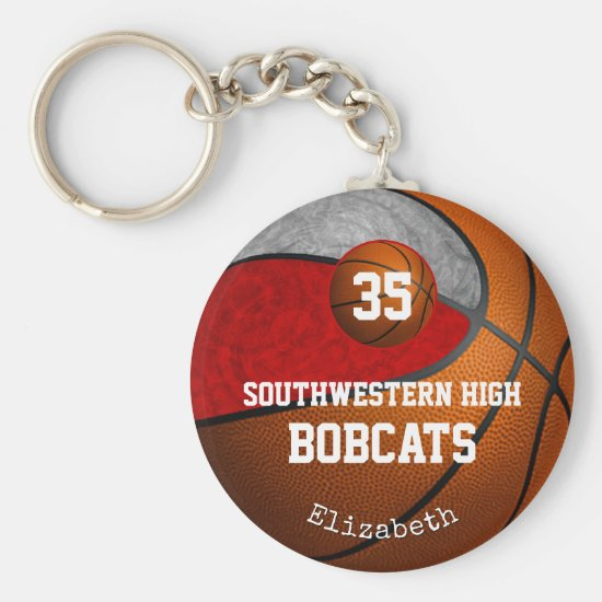 Girly red gray school team colors basketball keychain