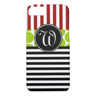 GIRLY RED GREEN BLACK STRIPES PATTERN iPhone 8/7 CASE