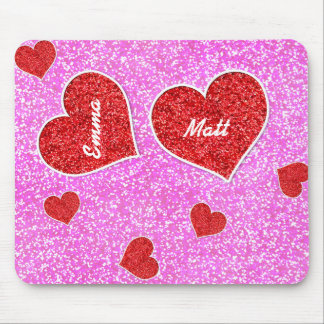 GIRLY rED HEART PINK GLITTER Mouse Pad