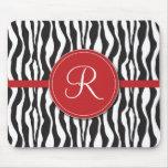 Girly Red Monogram Zebra Print Mousepad